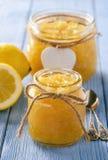 Homemade lemon jam in glass jars. Stock Image