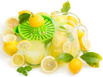 Homemade Lemon Juice with fresh fruits Royalty Free Stock Photo