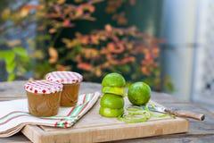 Homemade lime jam with fresh limes Stock Photography