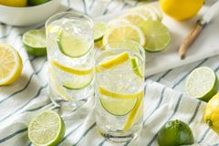 Homemade Lemon and Lime Water. Ready to Drink stock photography