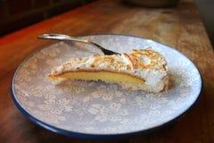 Homemade lemon pie on wood table Stock Photos