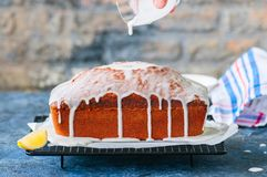Homemade lemon poppy seed pound cake on a wire rack. Blue stone royalty free stock photography