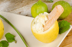 Homemade lemon sorbet Stock Photos