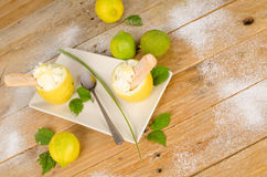 Homemade lemon sorbet. Fresh lemons around a homemade lemon sorbet Stock Photography