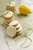 Homemade lemon sugar cookies on linen tablecloth Stock Photography