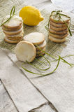 Homemade lemon sugar cookies on linen tablecloth Royalty Free Stock Photography