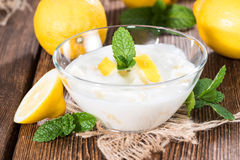 Homemade Lemon Yoghurt Stock Image