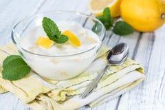 Homemade Lemon Yoghurt Stock Image