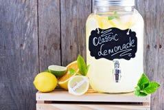 Homemade lemonade in beverage dispencer Stock Photo