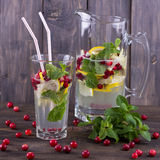 Homemade lemonade with cranberry and mint Royalty Free Stock Images