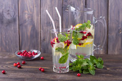 Homemade lemonade with cranberry and mint Stock Photo