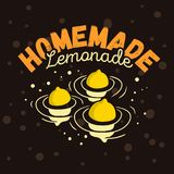 Homemade Lemonade Design With Three Floated Lemons Conceptual Illustration. Vector Graphic Design. Royalty Free Stock Images