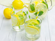 Homemade lemonade with fresh lemon and mint. Closeup Royalty Free Stock Photography