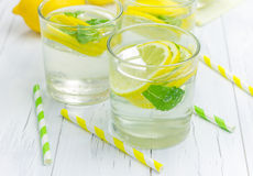 Homemade lemonade with fresh lemons and mint. Closeup Royalty Free Stock Image