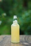 Homemade lemonade in glass bottle on bokeh background Stock Images