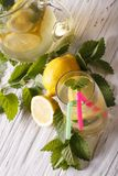 Homemade lemonade in a glass closeup. vertical top view Royalty Free Stock Images