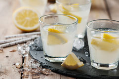 Homemade lemonade with lemon and ice Stock Photo