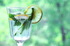 Homemade lemonade lemon mint ice in a Royalty Free Stock Image