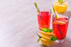 Homemade lemonade with lemons, cranberry and mint Stock Image