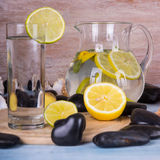 Homemade lemonade with lime. Detox citrus infused flavored water. Royalty Free Stock Photos
