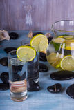 Homemade lemonade with lime . Detox citrus infused flavored water. Royalty Free Stock Photography