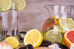 Homemade lemonade with lime and grapefruit. Detox citrus infused flavored water. Royalty Free Stock Images