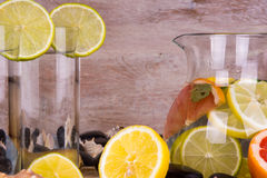 Homemade lemonade with lime and grapefruit. Detox citrus infused flavored water. Royalty Free Stock Photo