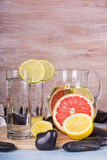 Homemade lemonade with lime and grapefruit. Detox citrus infused flavored water. Royalty Free Stock Photos