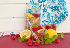 Homemade lemonade with raspberries Royalty Free Stock Photos