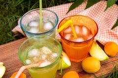 Homemade lemonade of ripe peaches royalty free stock image