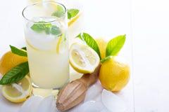 Homemade lemonade in tall glasses Stock Photos