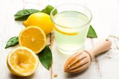 Homemade lemonade on white wooden table Stock Image