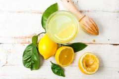 Homemade lemonade on white wooden table Stock Photo