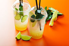 Homemade lemonades and fruits Royalty Free Stock Image