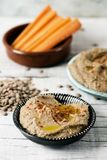 Homemade lentil hummus on a table royalty free stock photos