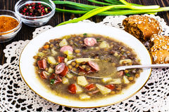 Homemade lentil soup with cabbage Royalty Free Stock Image