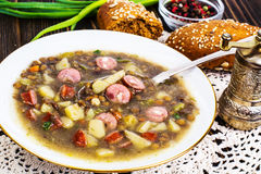 Homemade lentil soup with cabbage Royalty Free Stock Photography