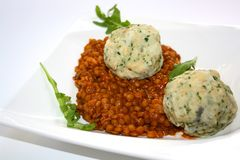 Homemade lentil stew with bread dumplings. stock photo