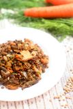Homemade Lentils with mushrooms and onion stock photos