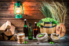 Homemade light beer served in a wooden mug Royalty Free Stock Image