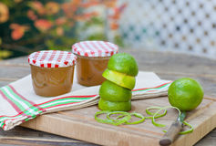Homemade lime jam with fresh limes Royalty Free Stock Photography