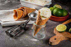 Homemade lime sorbet. Refreshing lime sorbet in a bowl with a spoon for ice cream. With horns for ice cream one full of ice cream, limes, grater for peel. On an royalty free stock photo