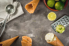 Homemade lime sorbet. Refreshing lime sorbet in a bowl with a spoon for ice cream. With horns for ice cream one full of ice cream, limes, grater for peel. On an royalty free stock image