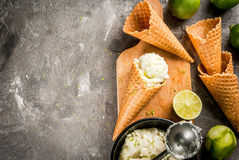 Homemade lime sorbet. Refreshing lime sorbet in a bowl with a spoon for ice cream. With horns for ice cream one full of ice cream, limes, grater for peel. On an Stock Image