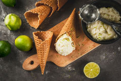 Homemade lime sorbet. Refreshing lime sorbet in a bowl with a spoon for ice cream. With horns for ice cream one full of ice cream, limes, grater for peel. On an stock photography
