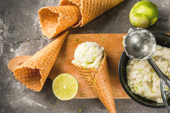 Homemade lime sorbet. Refreshing lime sorbet in a bowl with a spoon for ice cream. With horns for ice cream one full of ice cream, limes, grater for peel. On an stock photos