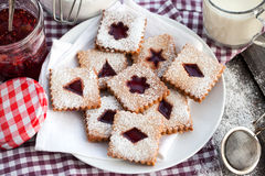 Homemade Linzer cutout cookies Stock Photography