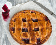 Homemade Linzer tart with blackcurrant jam stock photography