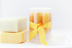 Homemade lip balm Stock Photos