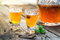 Homemade liqueur with alcohol and hazelnuts. On old wooden table Royalty Free Stock Photos